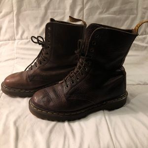 Brown leather Dr. Marten combat lace up boots